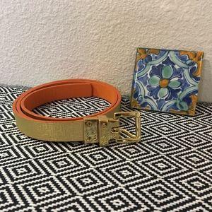 Michael Kors Gold/Orange Reversible Leather Belt